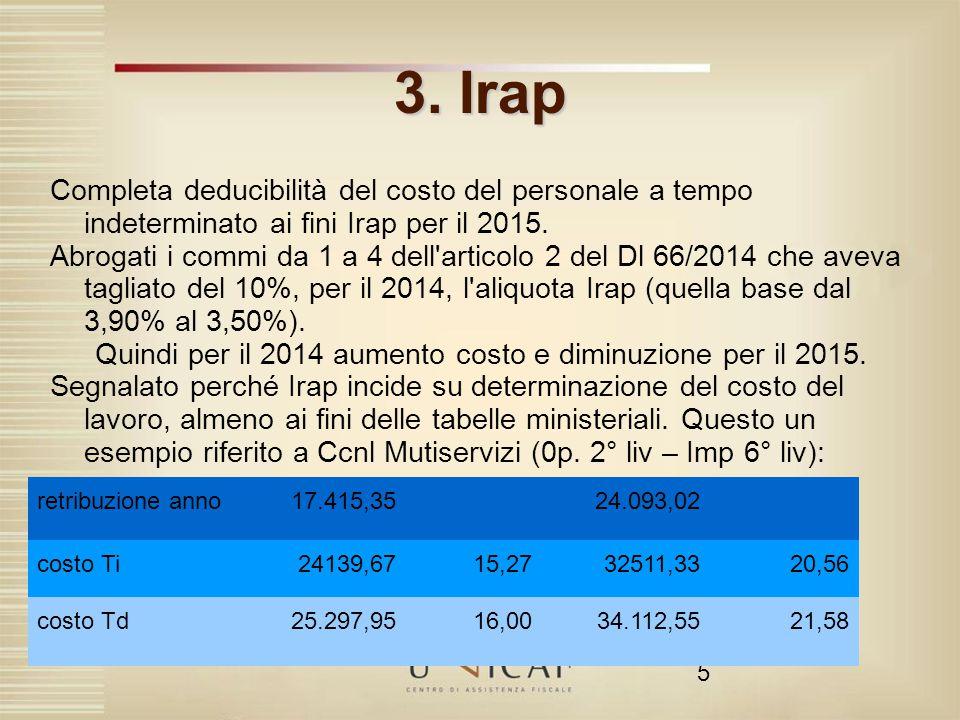 Quindi per il 2014 aumento costo e diminuzione per il 2015.