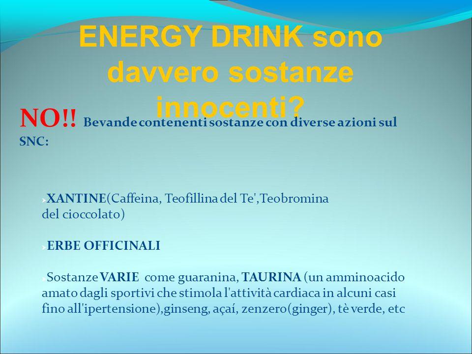 ENERGY DRINK sono davvero sostanze innocenti