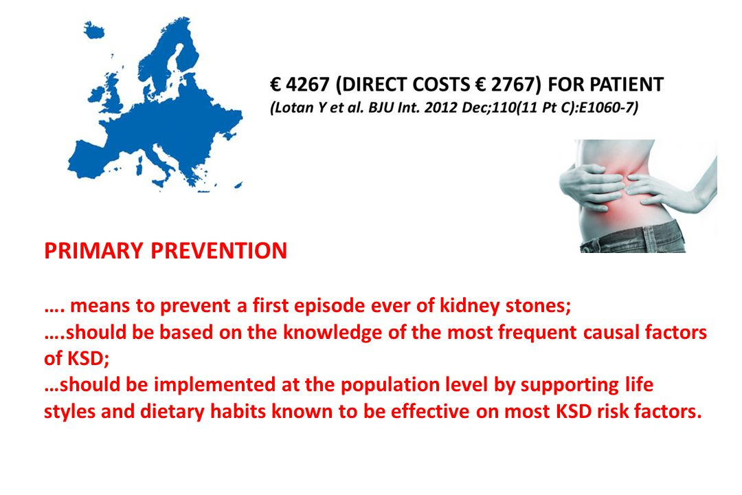 PRIMARY PREVENTION …. means to prevent a first episode ever of kidney stones;