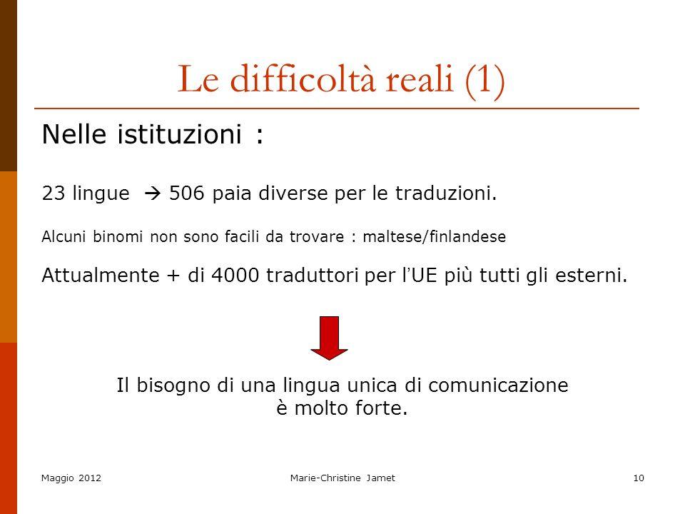 Le difficoltà reali (1) Nelle istituzioni :