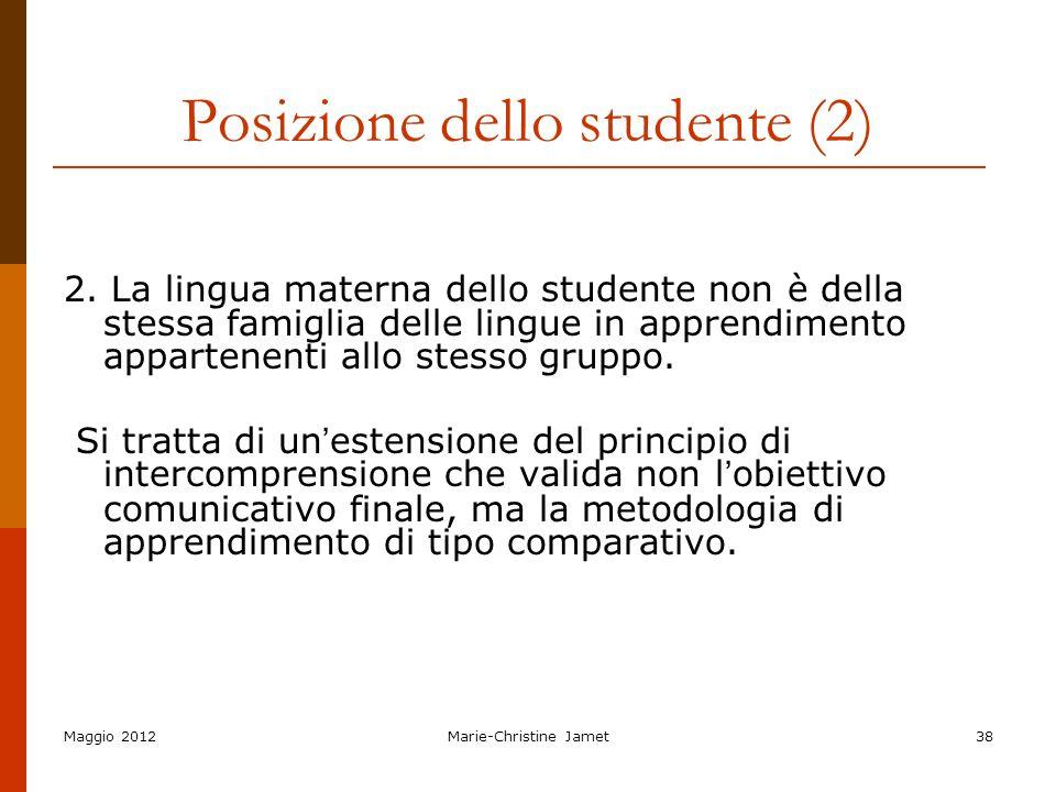 Posizione dello studente (2)