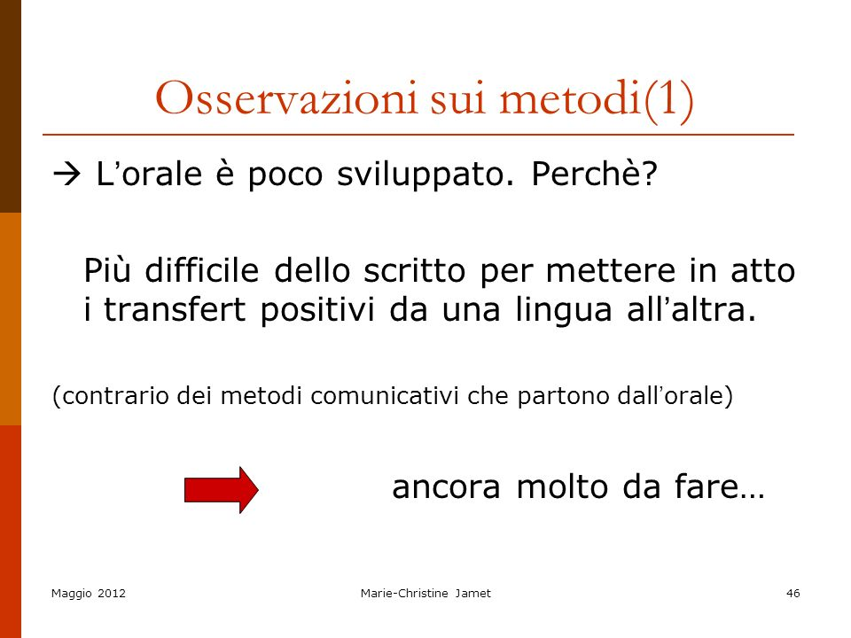 Osservazioni sui metodi(1)