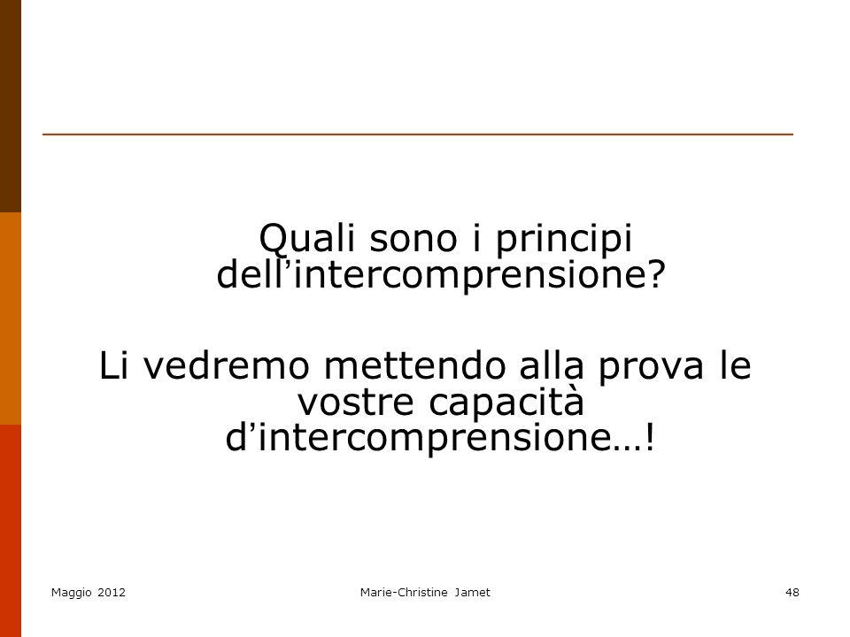 Quali sono i principi dell'intercomprensione