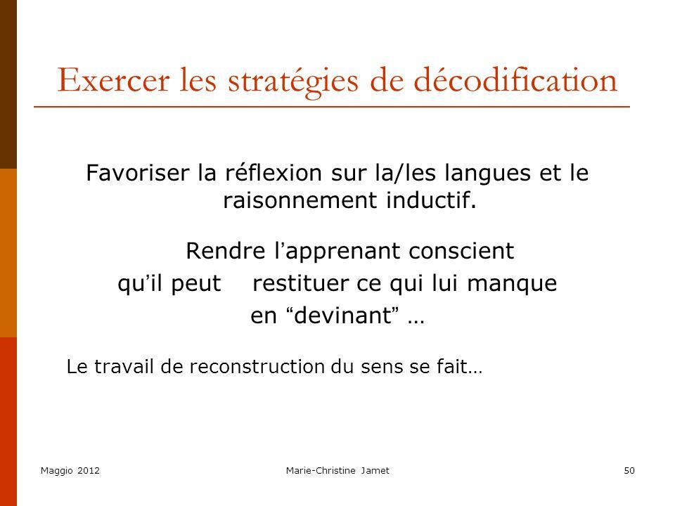 Exercer les stratégies de décodification