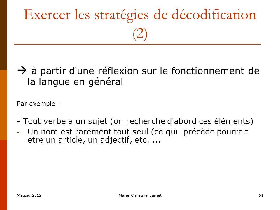 Exercer les stratégies de décodification (2)
