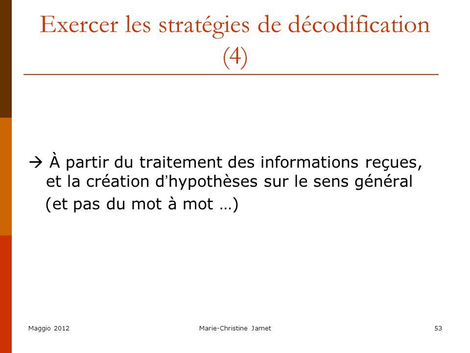 Exercer les stratégies de décodification (4)