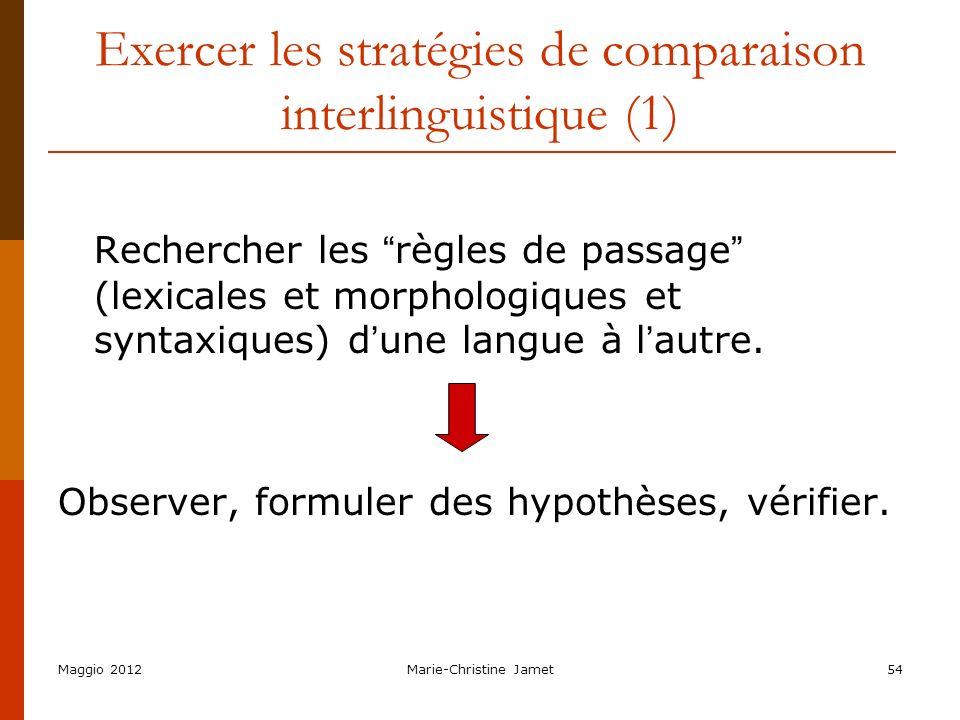 Exercer les stratégies de comparaison interlinguistique (1)