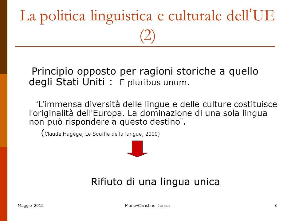 La politica linguistica e culturale dell'UE (2)