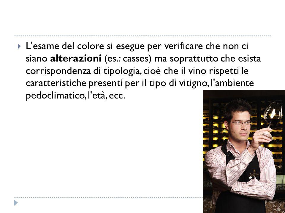 L esame del colore si esegue per verificare che non ci siano alterazioni (es.: casses) ma soprattutto che esista corrispondenza di tipologia, cioè che il vino rispetti le caratteristiche presenti per il tipo di vitigno, l ambiente pedoclimatico, l età, ecc.