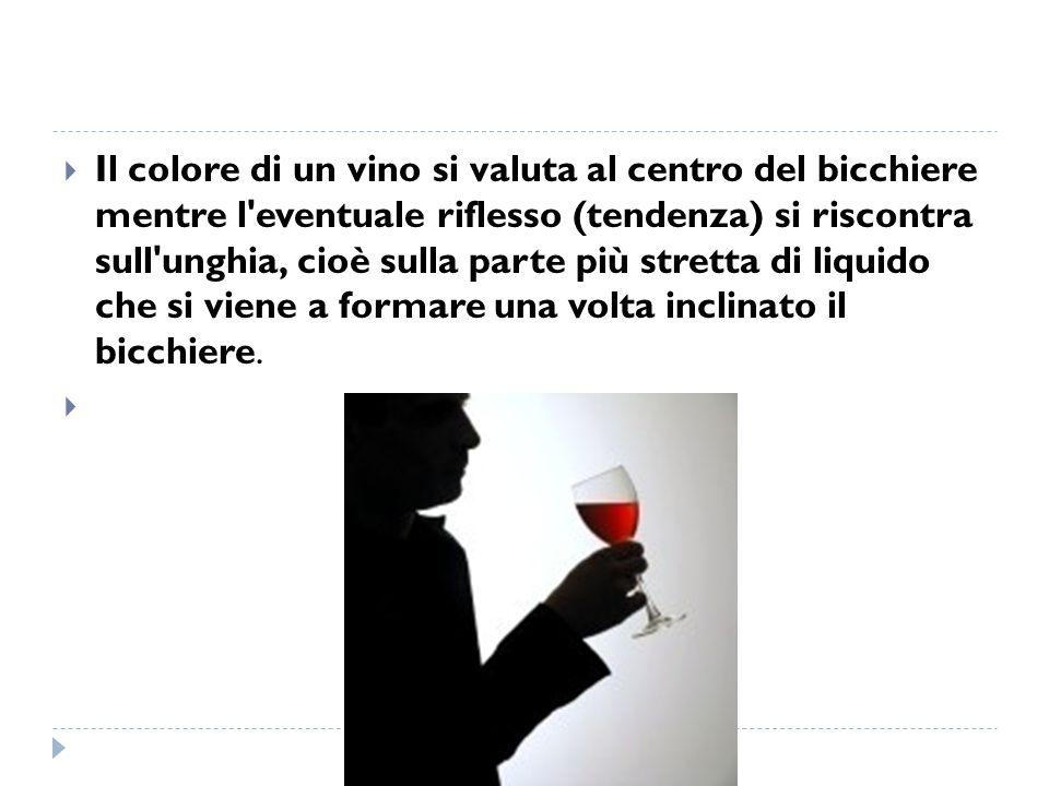 Il colore di un vino si valuta al centro del bicchiere mentre l eventuale riflesso (tendenza) si riscontra sull unghia, cioè sulla parte più stretta di liquido che si viene a formare una volta inclinato il bicchiere.