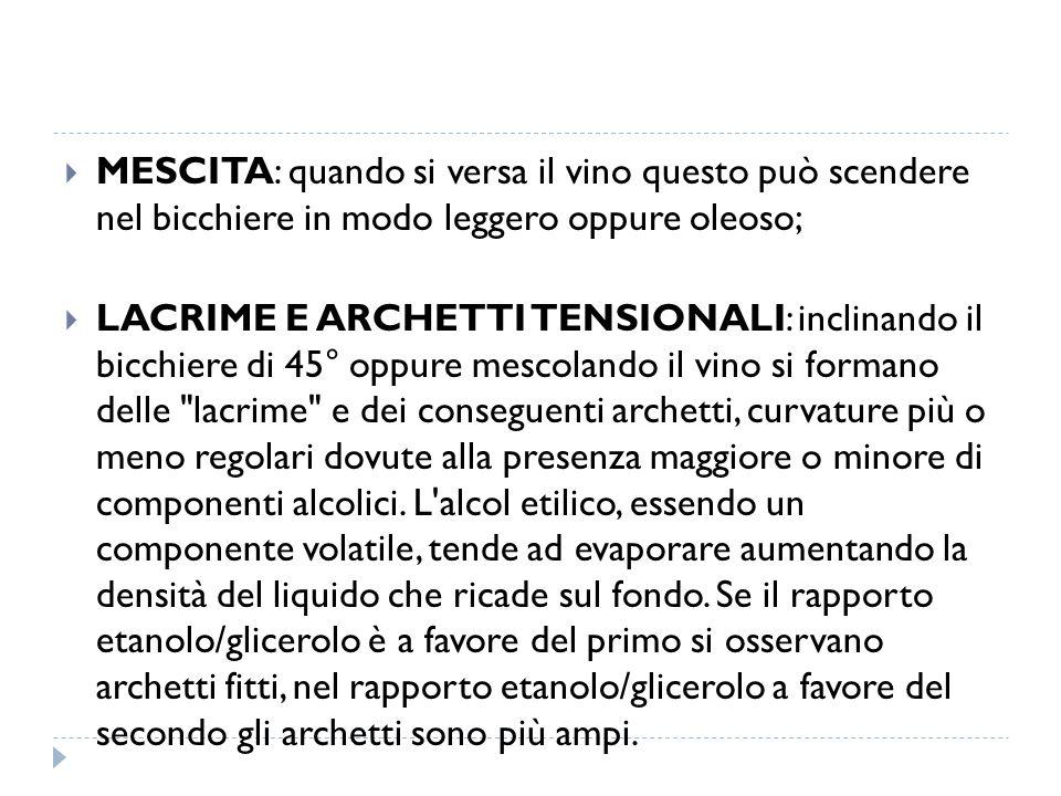MESCITA: quando si versa il vino questo può scendere nel bicchiere in modo leggero oppure oleoso;