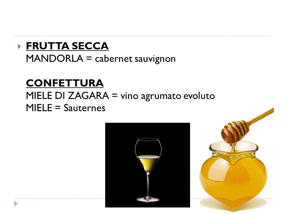 FRUTTA SECCA MANDORLA = cabernet sauvignon CONFETTURA MIELE DI ZAGARA = vino agrumato evoluto MIELE = Sauternes