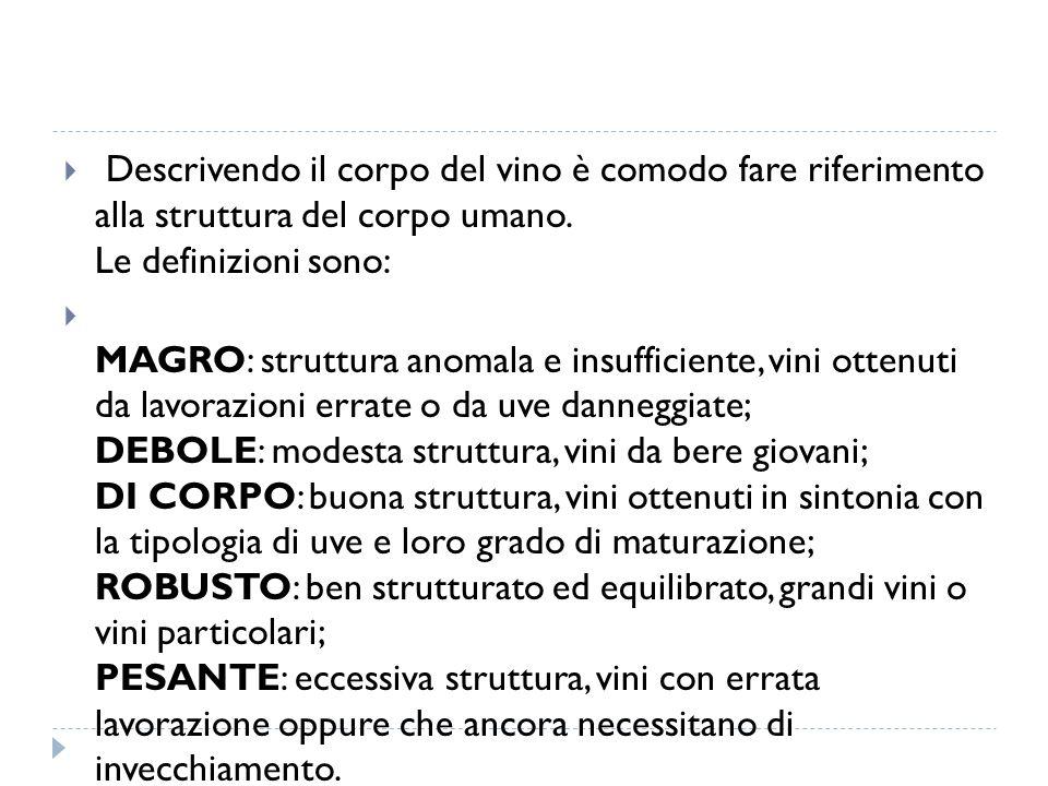 Descrivendo il corpo del vino è comodo fare riferimento alla struttura del corpo umano. Le definizioni sono: