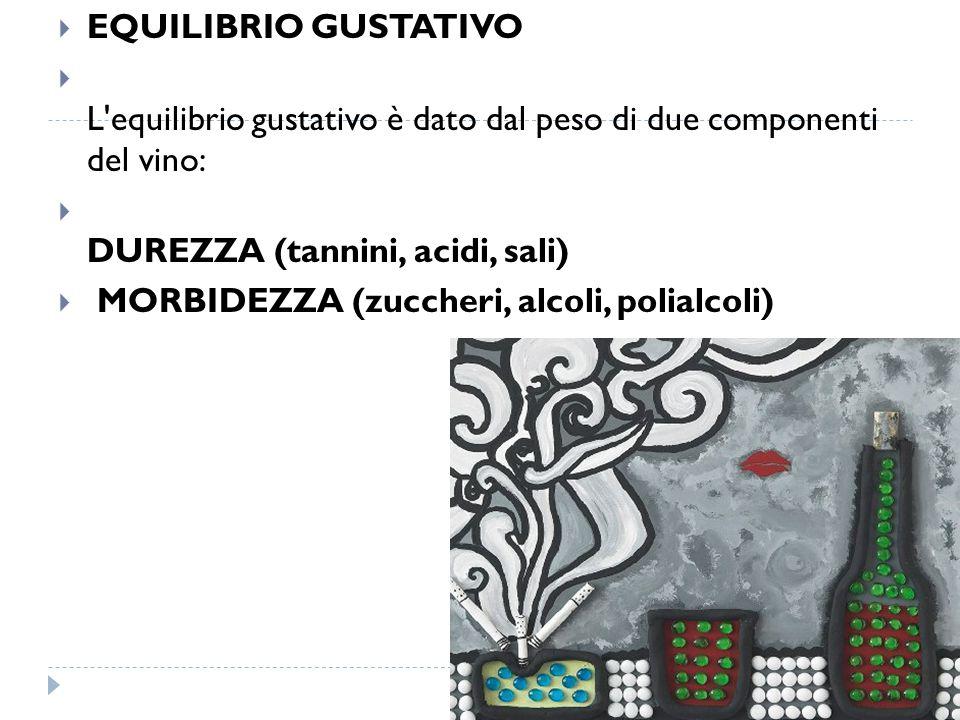 EQUILIBRIO GUSTATIVO L equilibrio gustativo è dato dal peso di due componenti del vino: DUREZZA (tannini, acidi, sali)