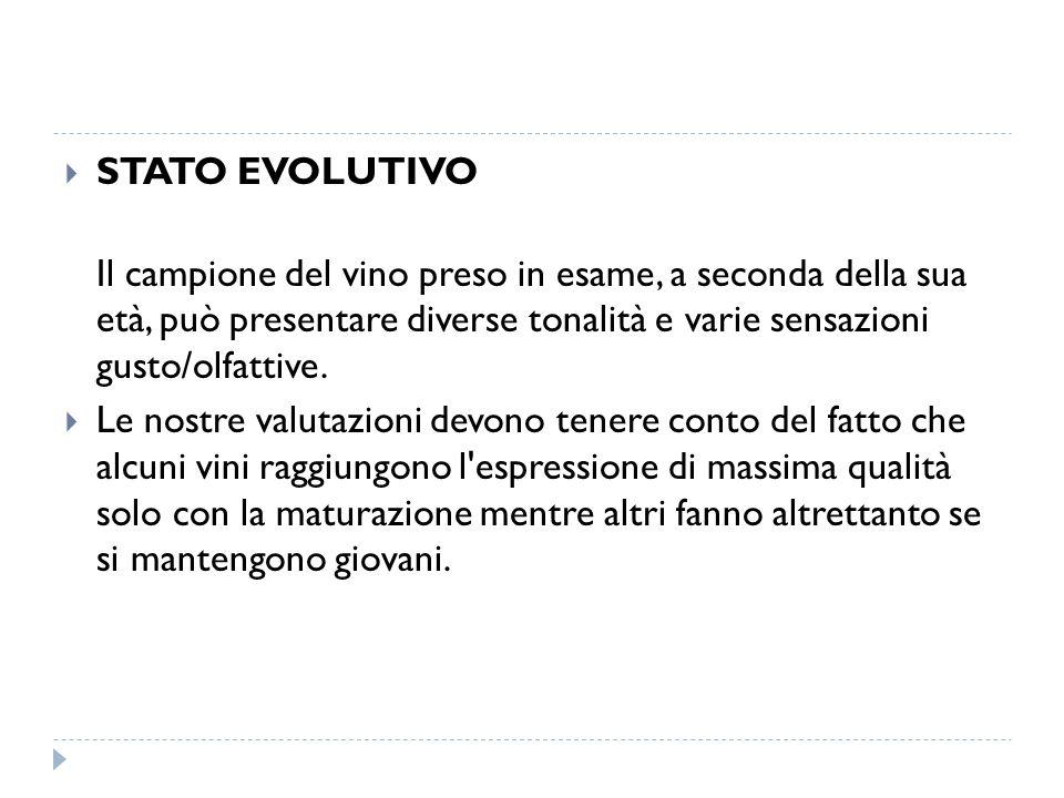 STATO EVOLUTIVO Il campione del vino preso in esame, a seconda della sua età, può presentare diverse tonalità e varie sensazioni gusto/olfattive.
