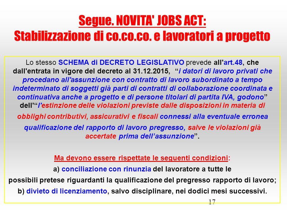 Stabilizzazione di co.co.co. e lavoratori a progetto