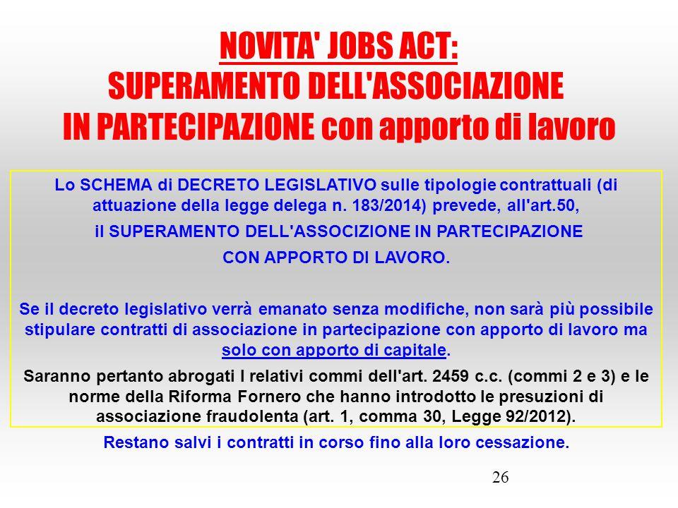 SUPERAMENTO DELL ASSOCIAZIONE IN PARTECIPAZIONE con apporto di lavoro