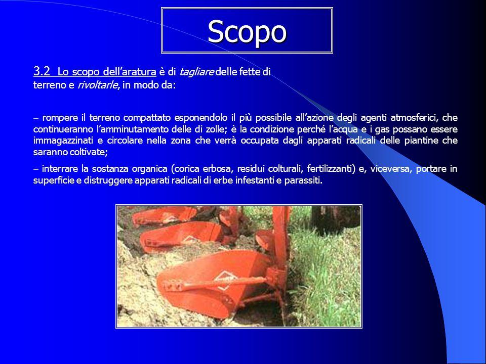 Scopo 3.2 Lo scopo dell'aratura è di tagliare delle fette di terreno e rivoltarle, in modo da: