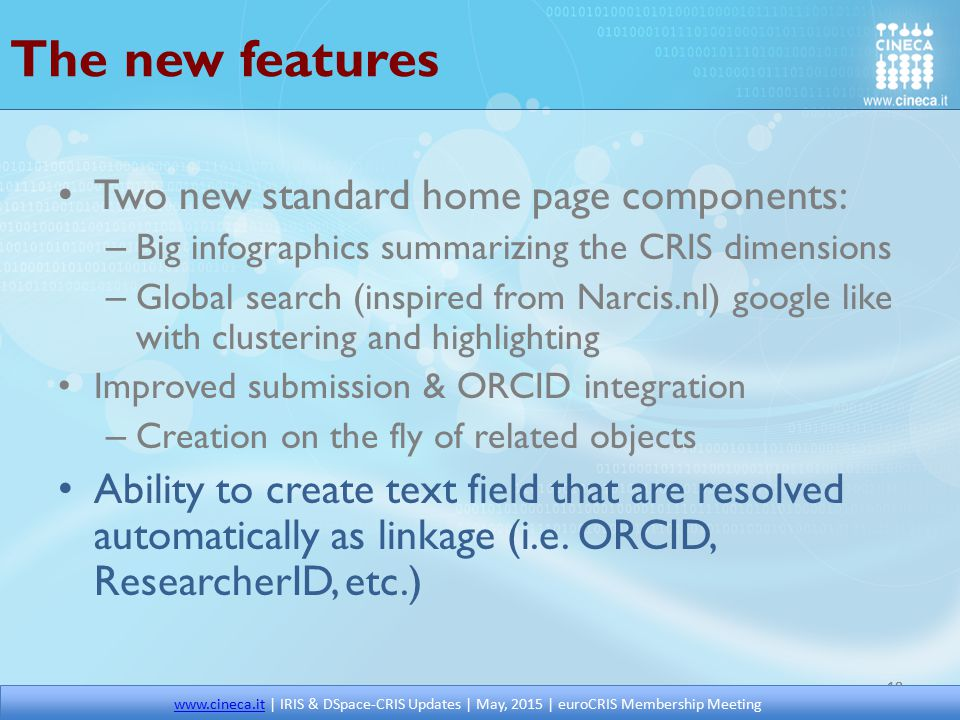 The new features Two new standard home page components: