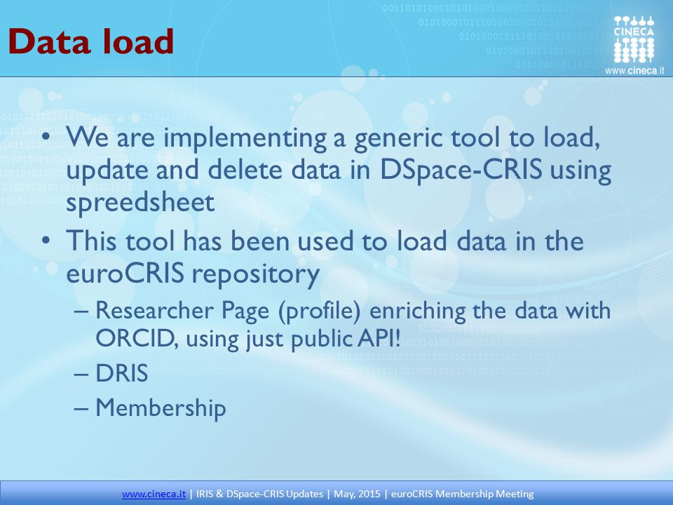 Data load We are implementing a generic tool to load, update and delete data in DSpace-CRIS using spreedsheet.