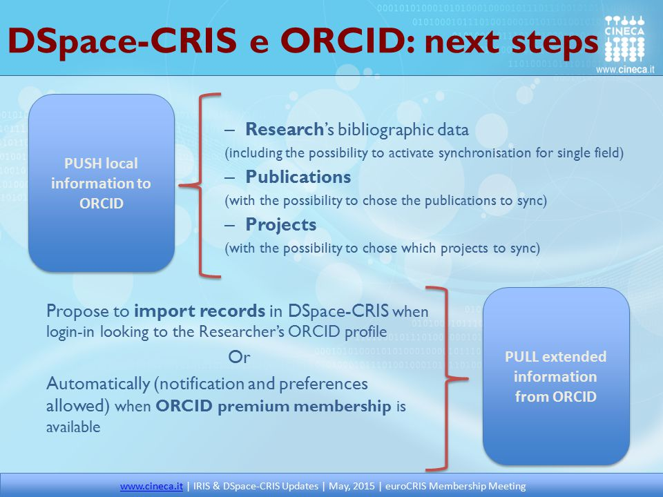DSpace-CRIS e ORCID: next steps