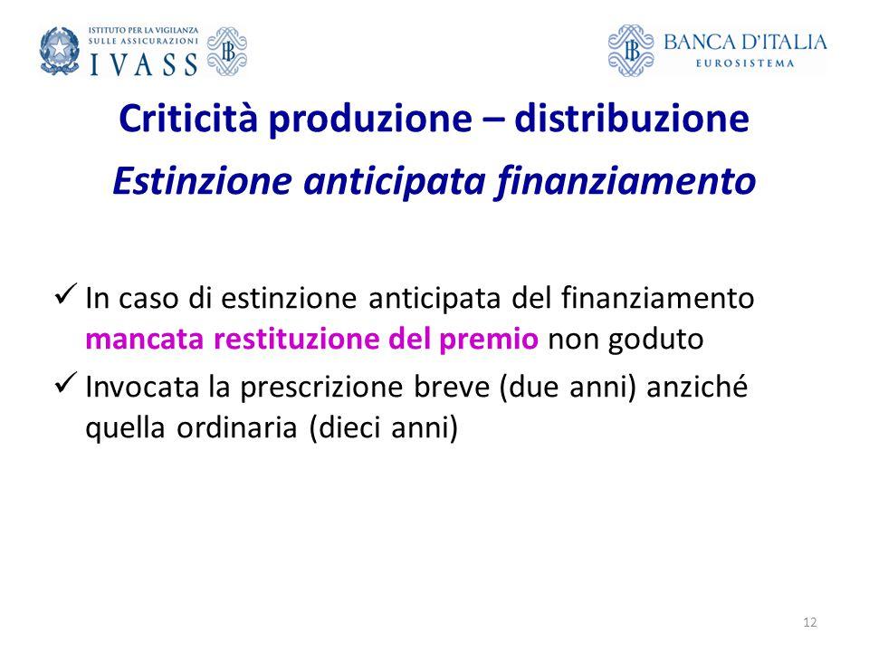 Criticità produzione – distribuzione