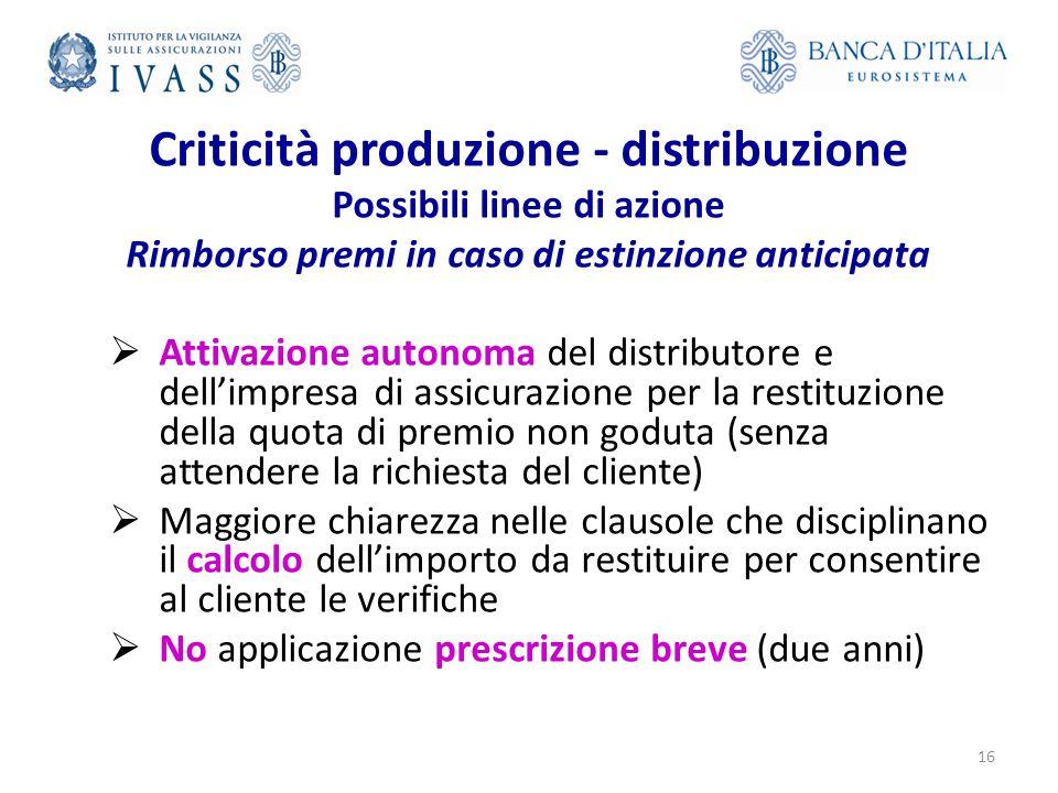 Criticità produzione - distribuzione