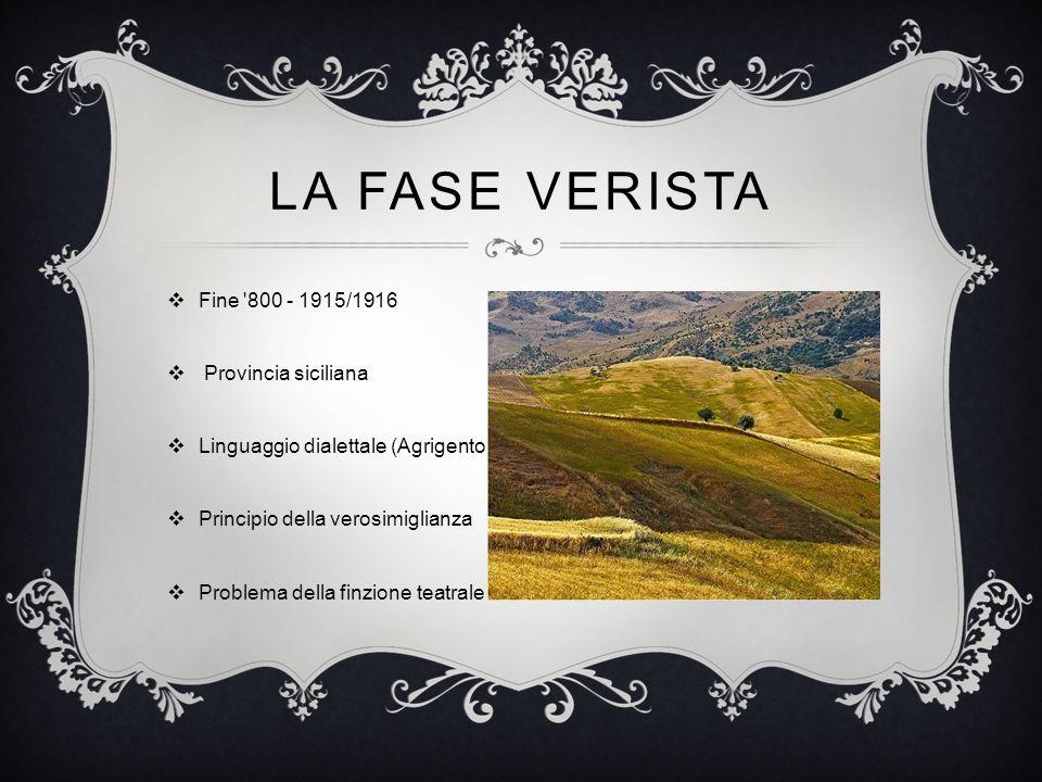La Fase verista Fine 800 - 1915/1916 Provincia siciliana