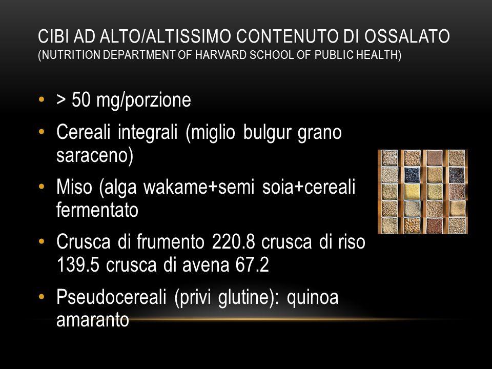 Cereali integrali (miglio bulgur grano saraceno)