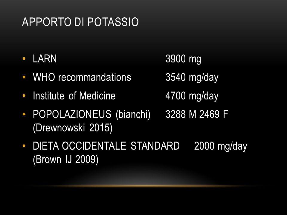 APPORTO DI POTASSIO LARN 3900 mg WHO recommandations 3540 mg/day