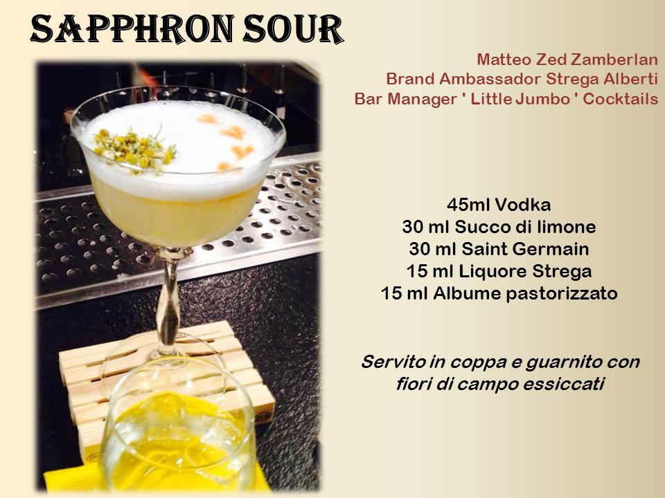 Sapphron Sour 45ml Vodka 30 ml Succo di limone 30 ml Saint Germain