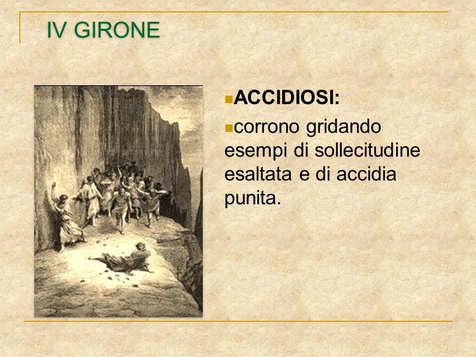 IV GIRONE ACCIDIOSI: corrono gridando esempi di sollecitudine esaltata e di accidia punita.