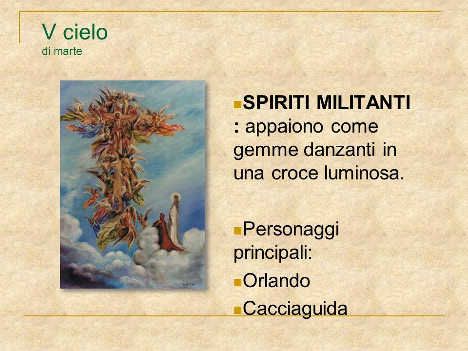 V cielo di marte SPIRITI MILITANTI : appaiono come gemme danzanti in una croce luminosa. Personaggi principali: