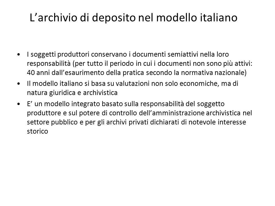 L'archivio di deposito nel modello italiano