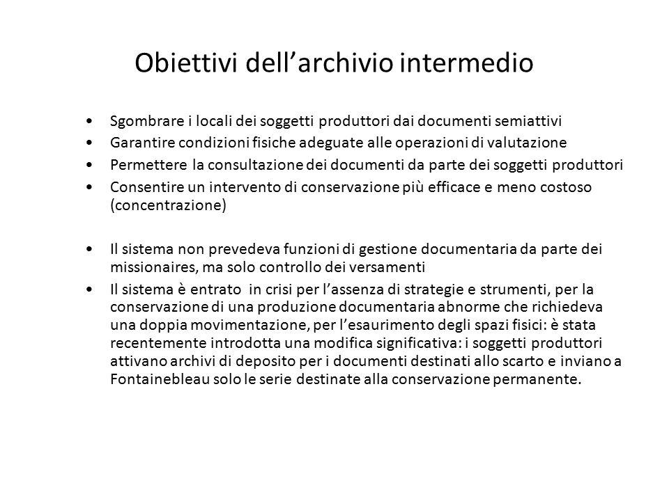 Obiettivi dell'archivio intermedio