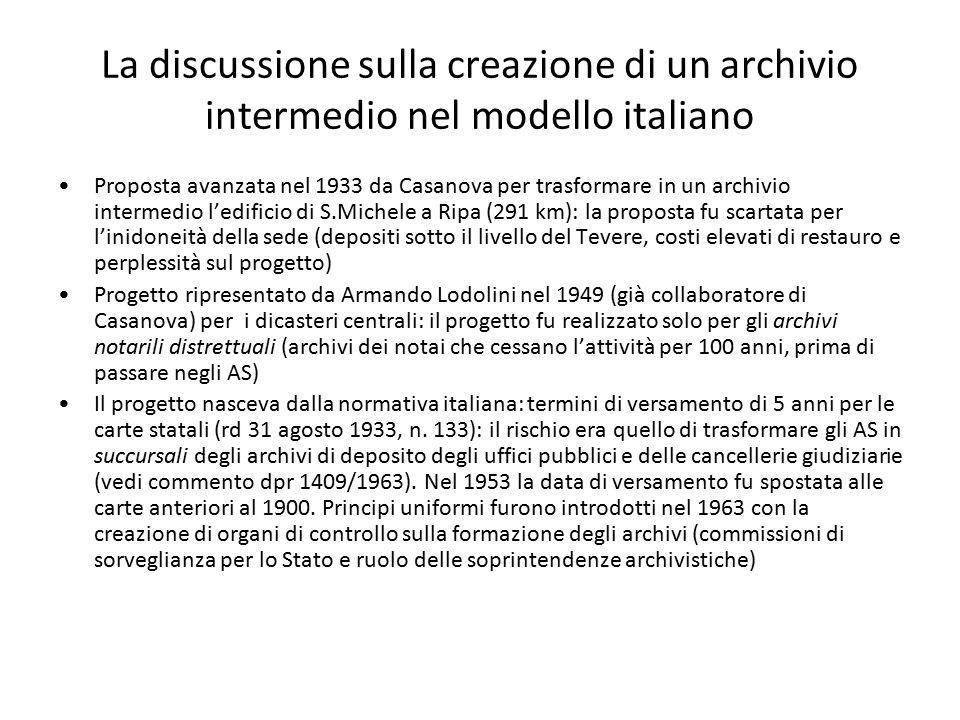 La discussione sulla creazione di un archivio intermedio nel modello italiano