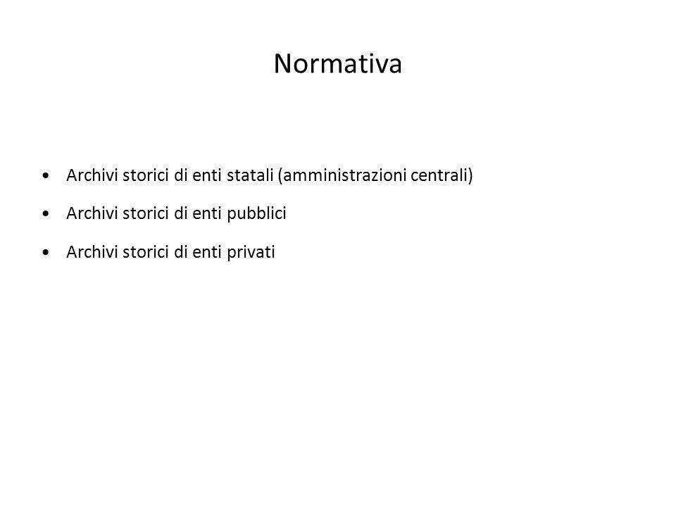 Normativa Archivi storici di enti statali (amministrazioni centrali)
