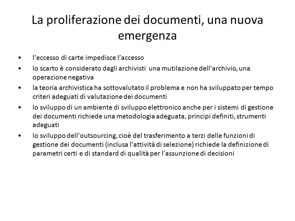 La proliferazione dei documenti, una nuova emergenza