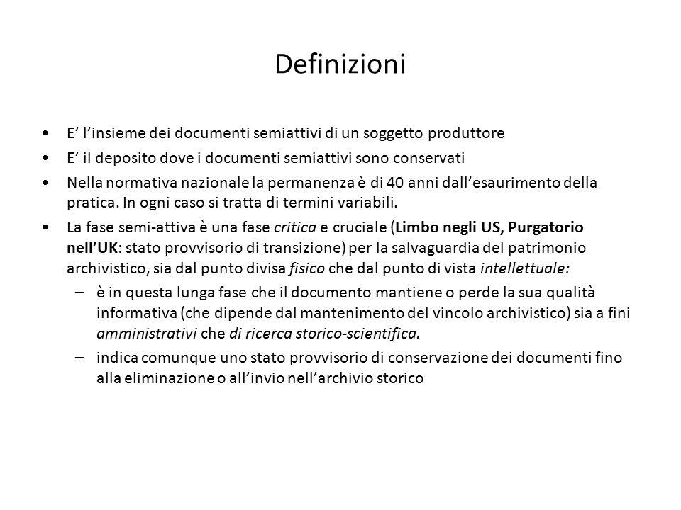 Definizioni E' l'insieme dei documenti semiattivi di un soggetto produttore. E' il deposito dove i documenti semiattivi sono conservati.