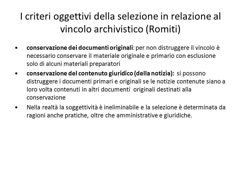 I criteri oggettivi della selezione in relazione al vincolo archivistico (Romiti)