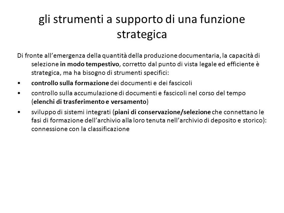 gli strumenti a supporto di una funzione strategica