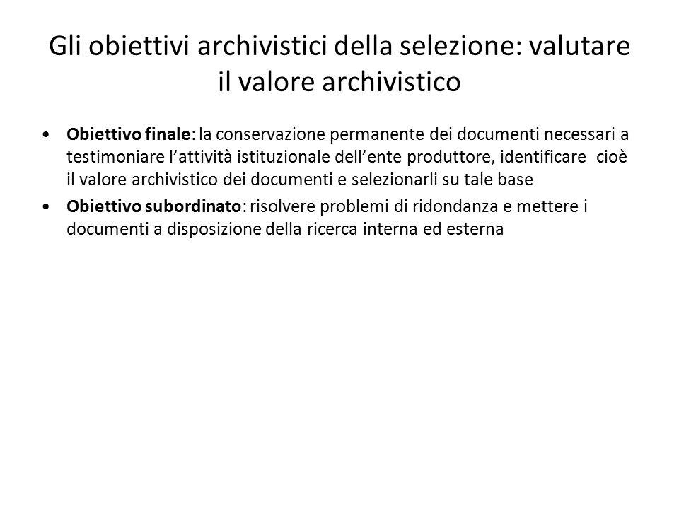 Gli obiettivi archivistici della selezione: valutare il valore archivistico