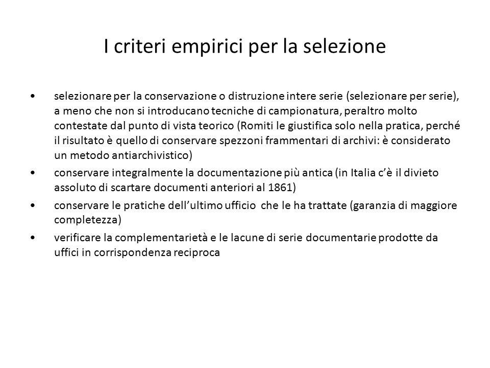 I criteri empirici per la selezione