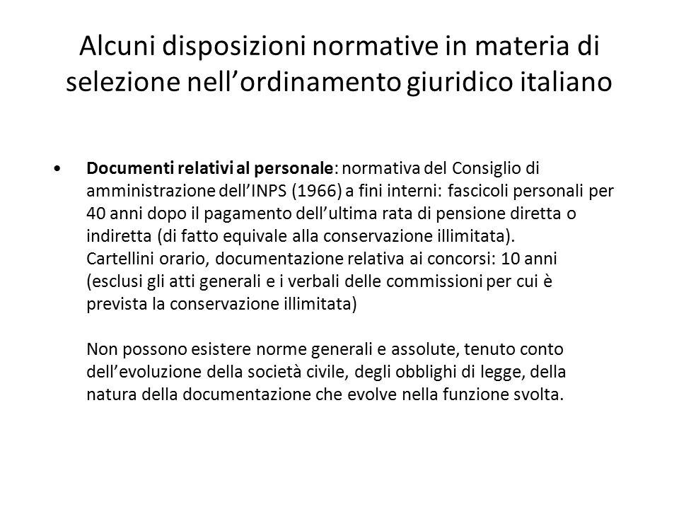 Alcuni disposizioni normative in materia di selezione nell'ordinamento giuridico italiano