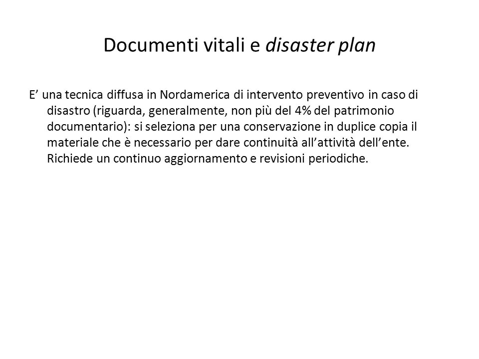 Documenti vitali e disaster plan