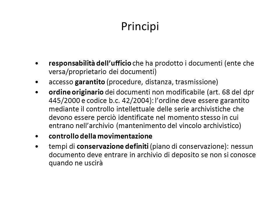 Principi responsabilità dell'ufficio che ha prodotto i documenti (ente che versa/proprietario dei documenti)