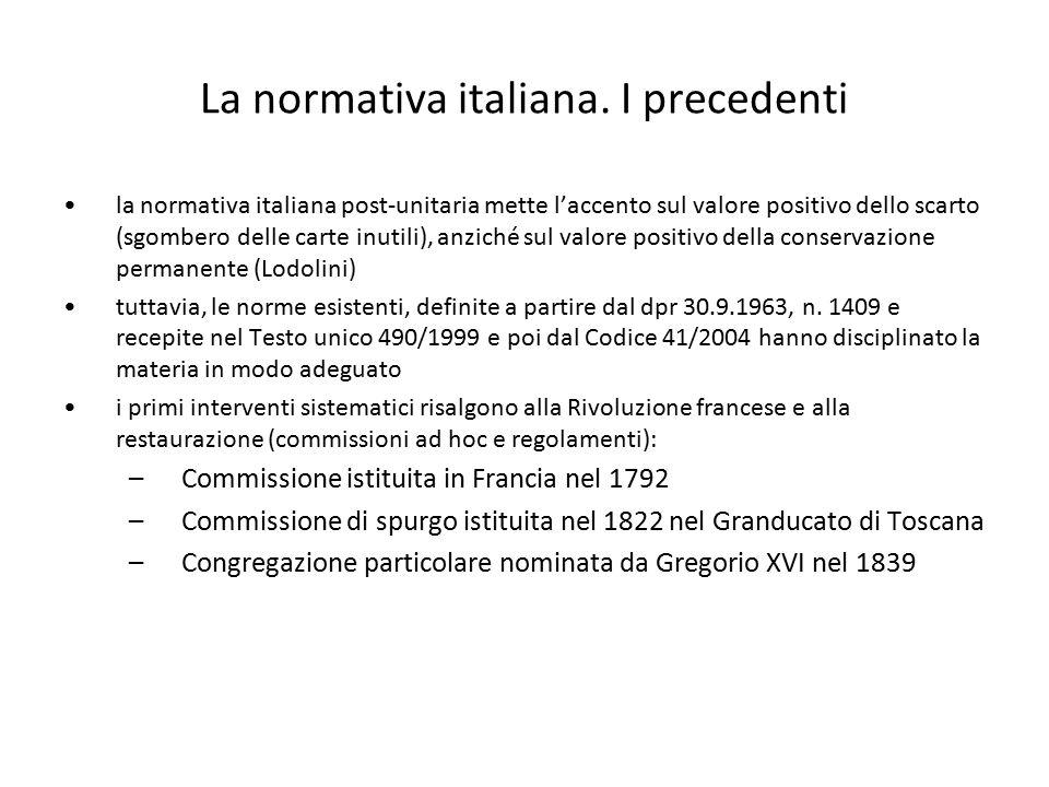 La normativa italiana. I precedenti