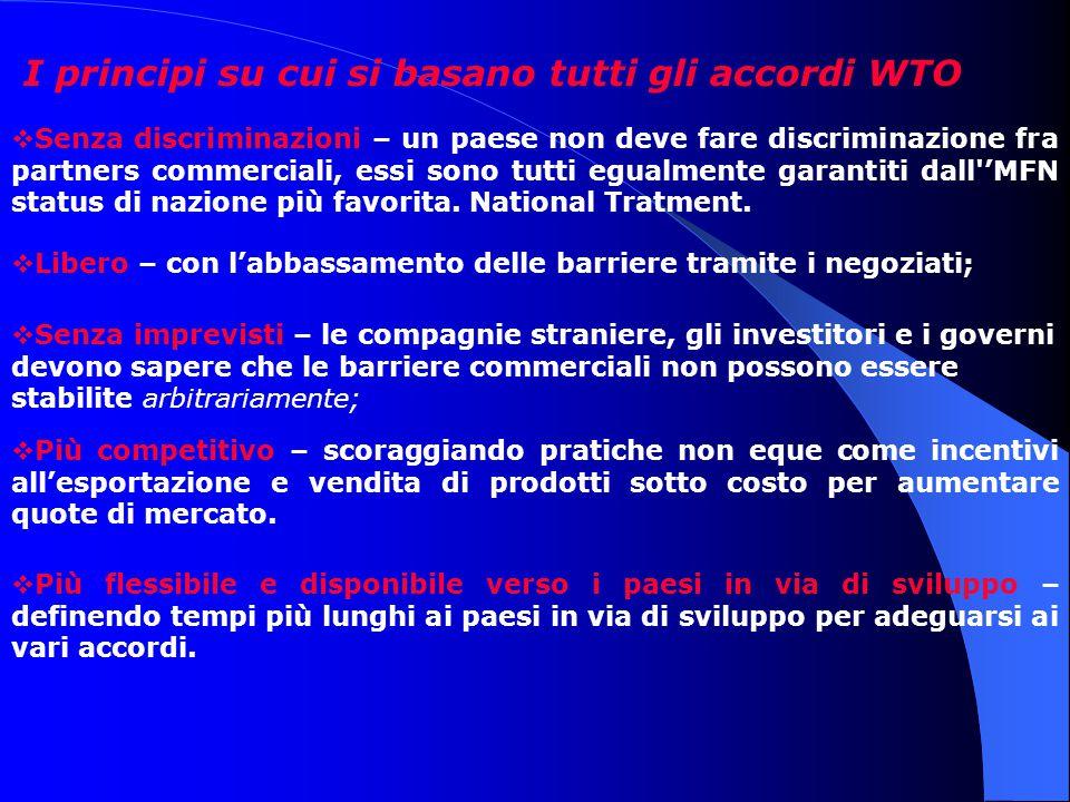 I principi su cui si basano tutti gli accordi WTO