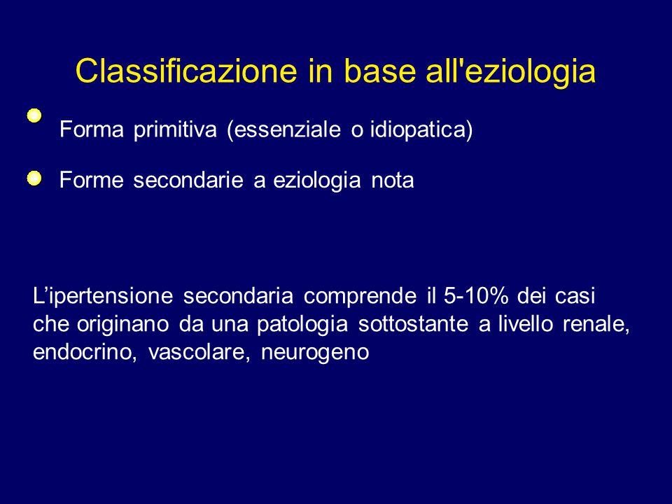 Classificazione in base all eziologia