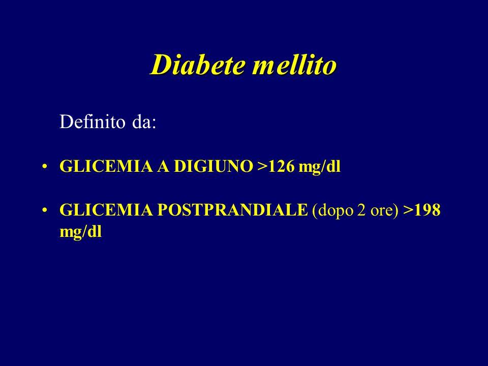 Diabete mellito Definito da: GLICEMIA A DIGIUNO >126 mg/dl